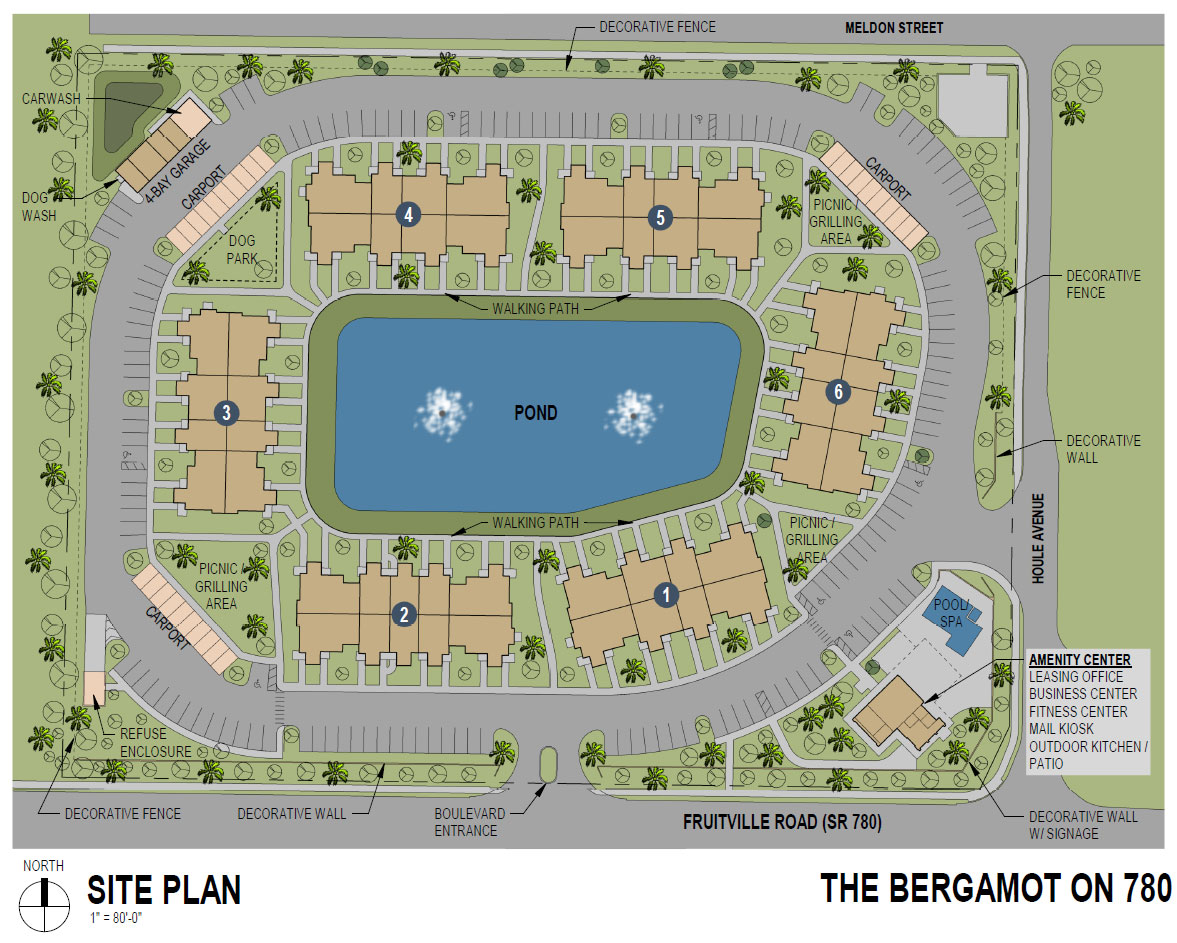Bergamot Site Plan with fountains