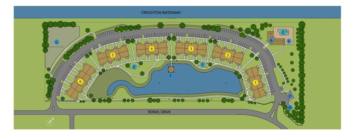Bergamot Site Plan with fountains