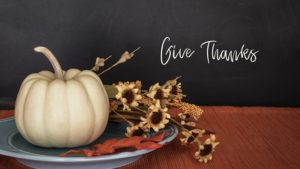 Give thanks pumpkin and sunflowers